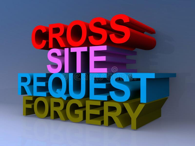 Cross site request forgery sign. Stacked cross site request forgery sign against blue background royalty free illustration