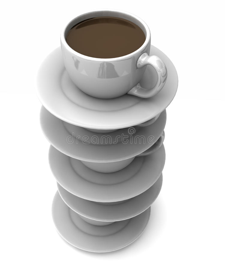 Download Stacked cups of coffee stock illustration. Image of dish - 11578555