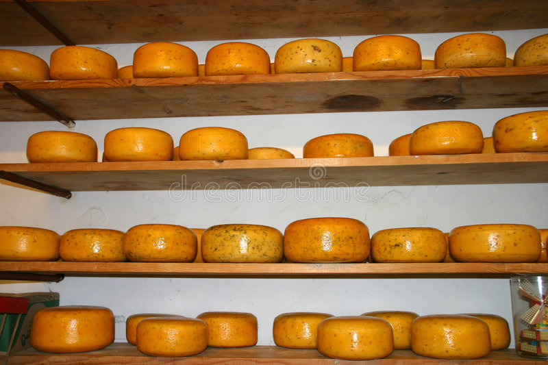 Stacked Dutch Cheese stock image