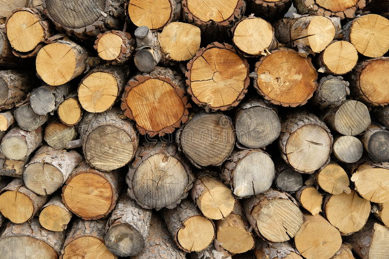 Stacked firewood background royalty free stock photography