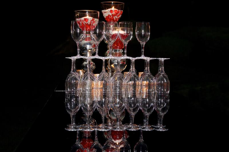 Stacked glassware stock image