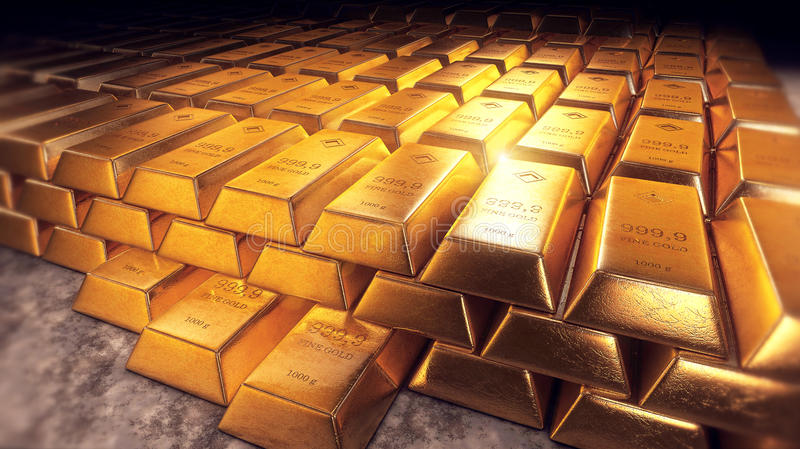 Stacked gold bars or bullion with reflections vector illustration