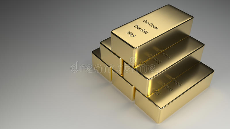 Stacked Gold Ingots Rendering royalty free stock photography