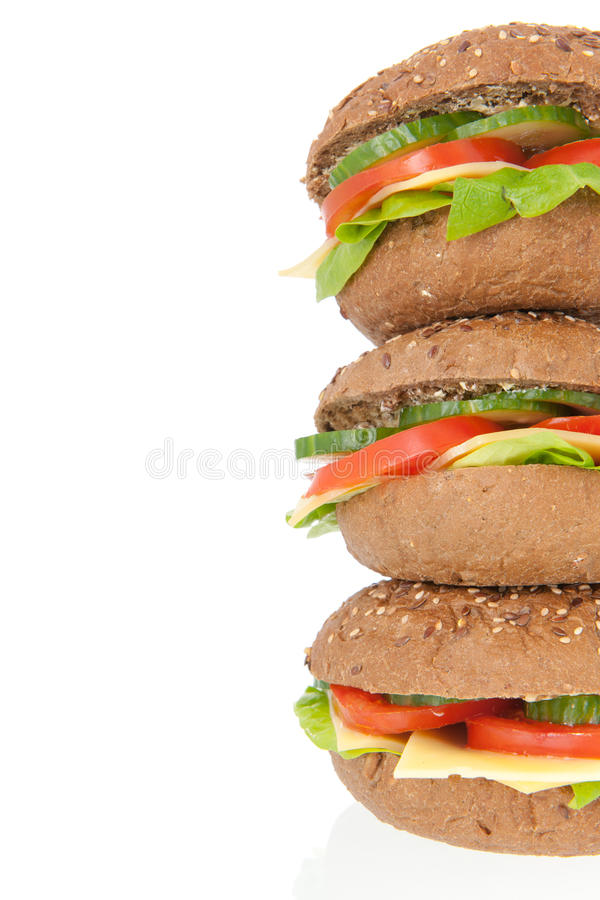 Download Stacked Healthy Brown Bread Roll With Cheese Stock Photo - Image: 38443532