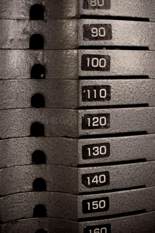 Stacked Heavy Metal Weights Bars royalty free stock images