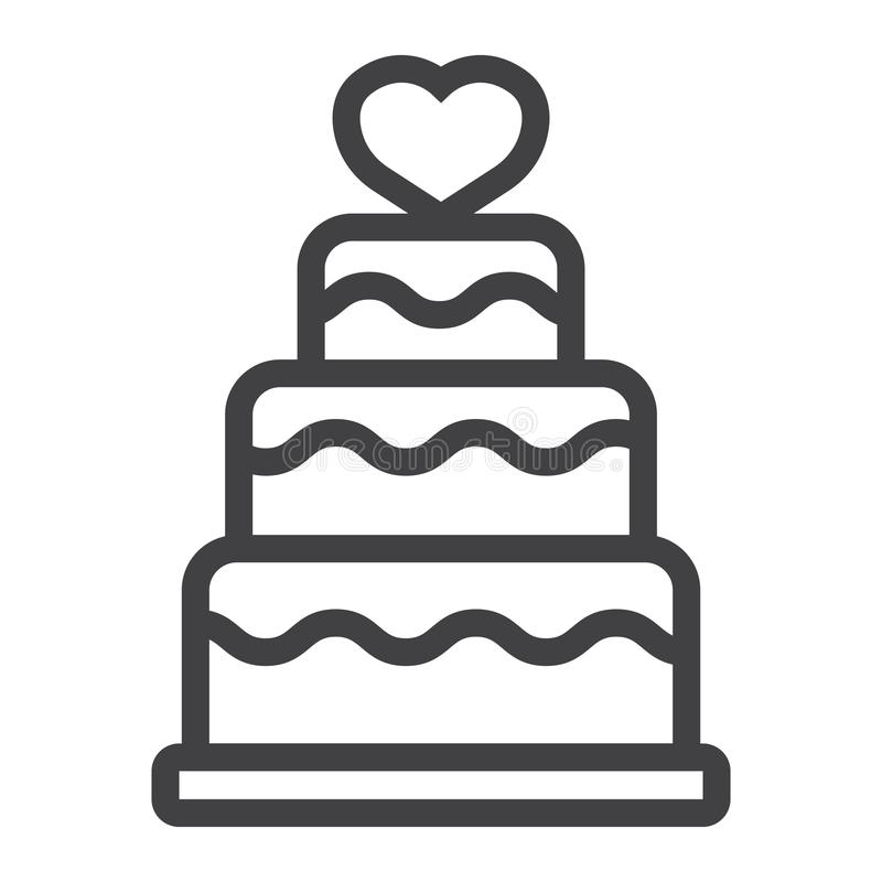 Stacked love cake line icon, valentines day vector illustration