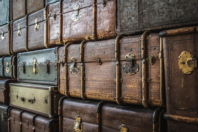 Stacked luggage trunks. At the German Museum of Technology Berlin royalty free stock images