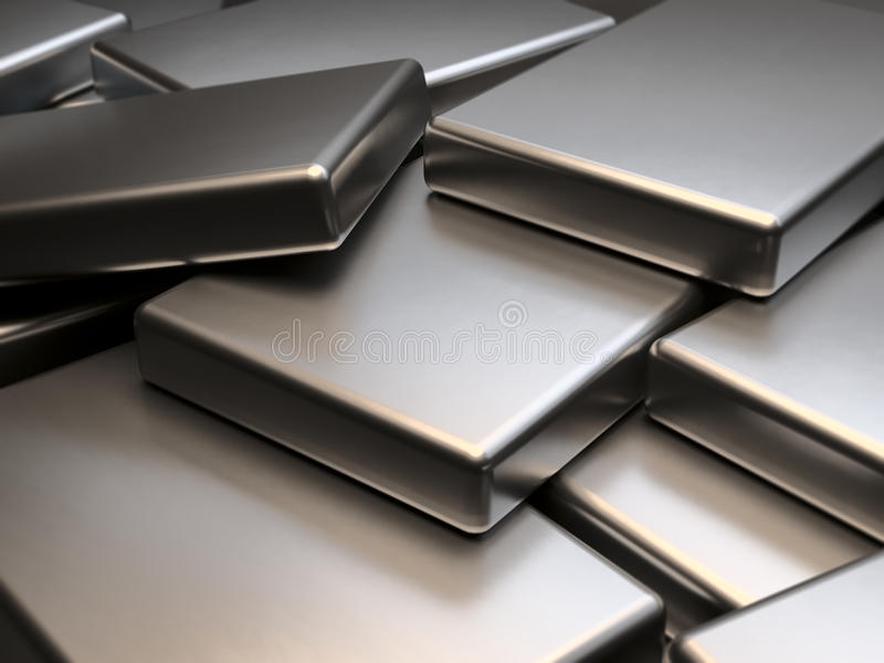 Stacked metal plates of neodymium rare earth magnets 3D Rendering stock illustration