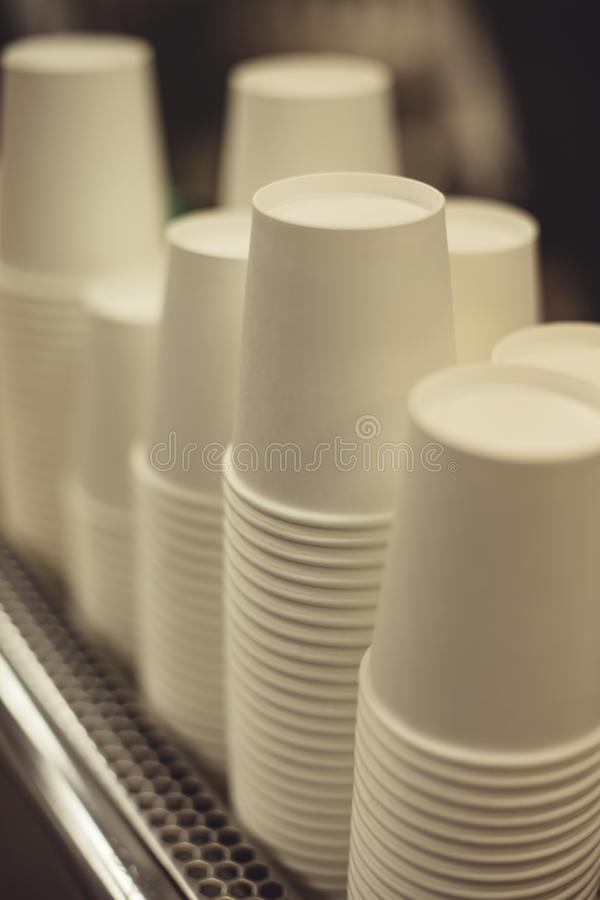 Stacked paper cups royalty free stock photos