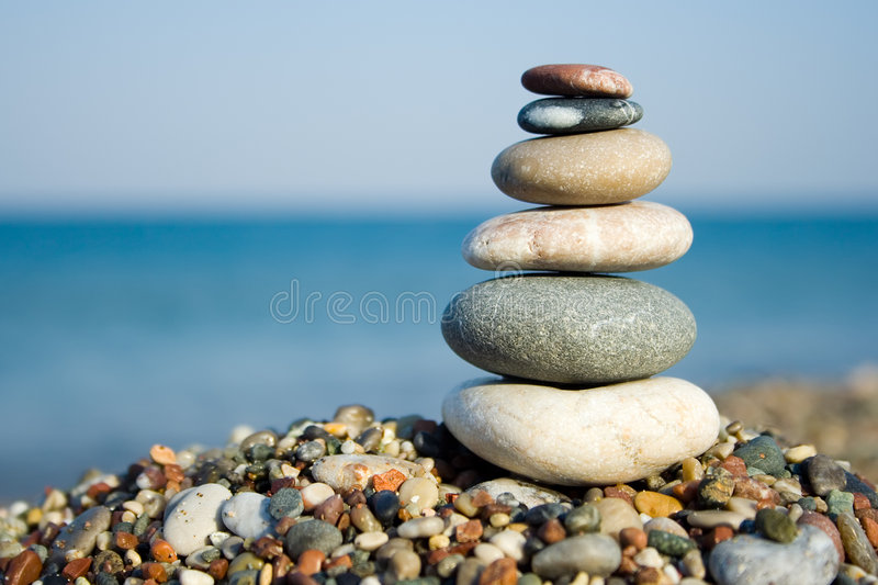 Stacked pebbles royalty free stock image