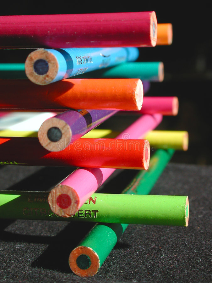 Download Stacked pencil crayons stock photo. Image of educate, kids - 334988