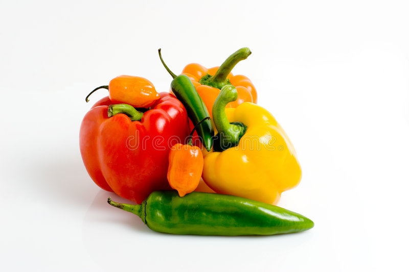 Stacked Peppers stock image