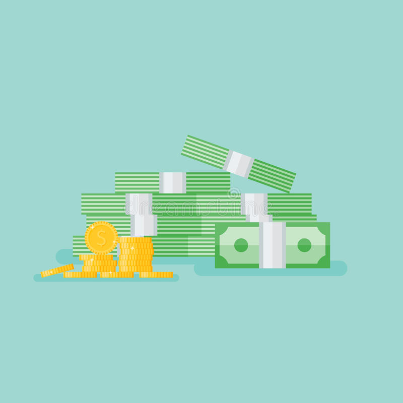 Stacked pile of cash with gold coins. Heap of money pack. stock illustration