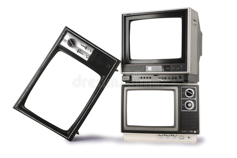 Stacked retro televisions royalty free stock image