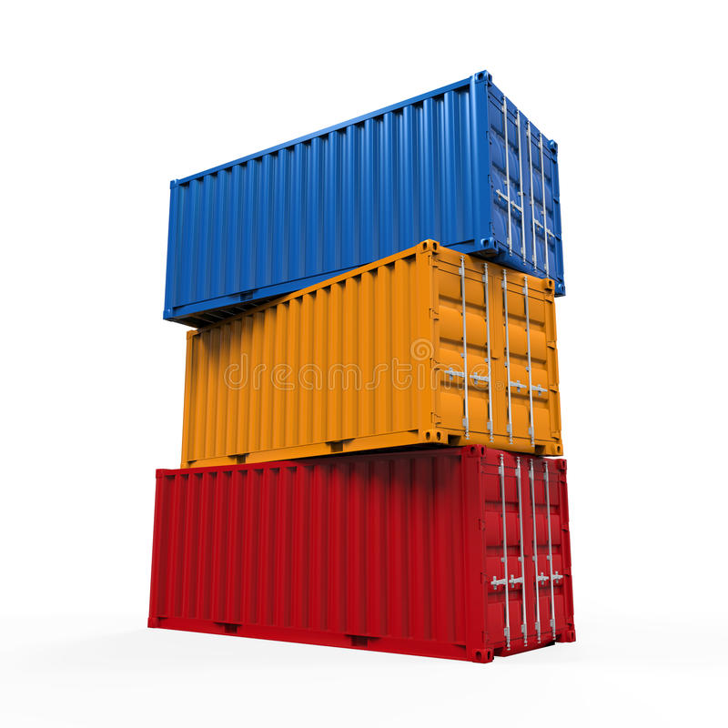 Stacked Shipping Container stock illustration