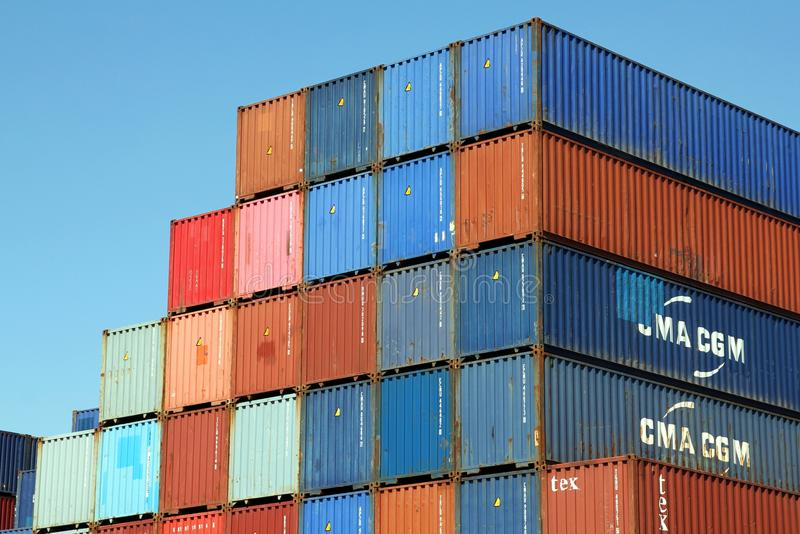 Stacked Shipping Containers. HAMBURG, GERMANY - MAY 4, 2018: Shipping containers stacked at the Port of Hamburg stock images