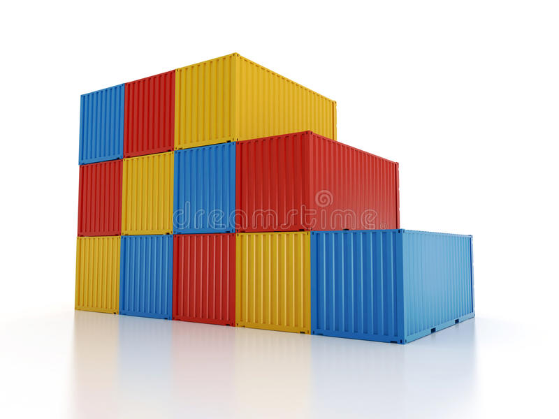 Stacked shipping containers on white background. Set of red and orange metal freight shipping containers on white background - photorealistic 3d perspective vector illustration