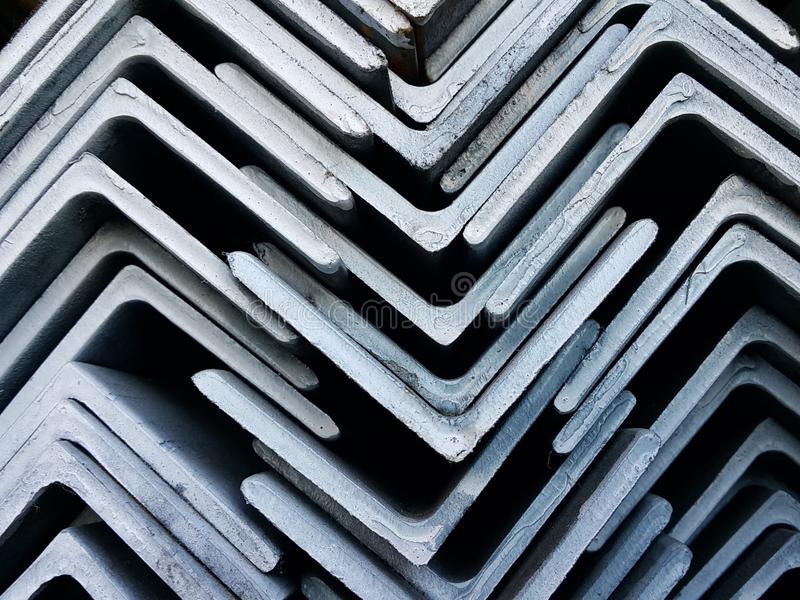 Stacked of Steel Angled Bar for industry construction. stock images