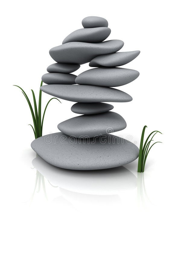 Stacked stones. & grass isolated on white - 3d render royalty free illustration