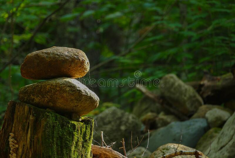 Stacked stones, lonely lighting. royalty free stock photos
