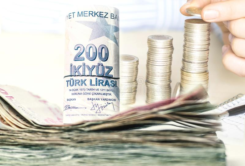 Stacked turkish lira banknotes and coins royalty free stock photos