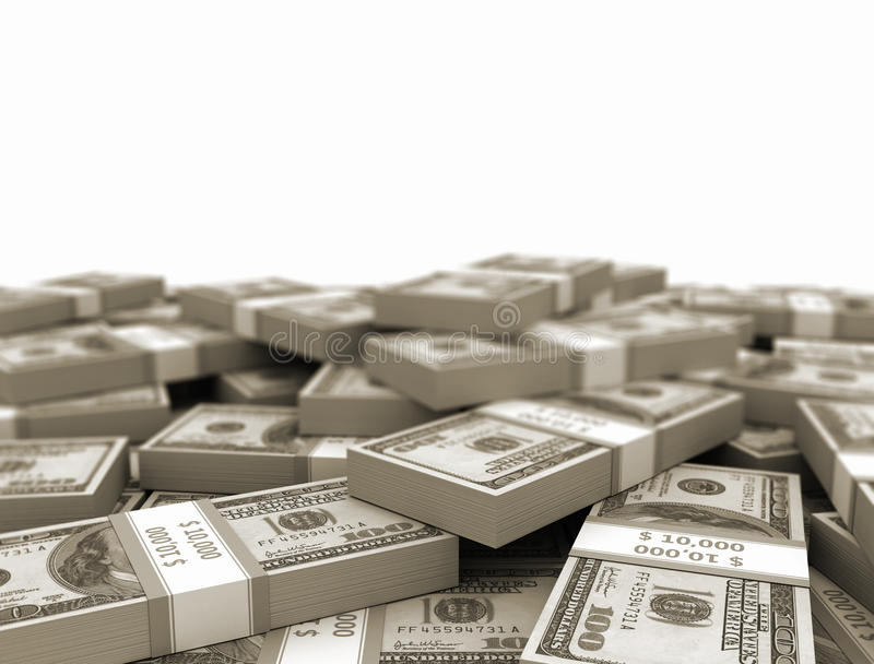 Stacked Us money bundles royalty free stock photography