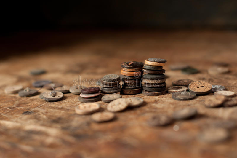 Stacked Vintage wood buttons stock photos