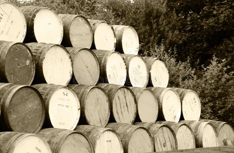 Stacked whiskey barrels royalty free stock photo