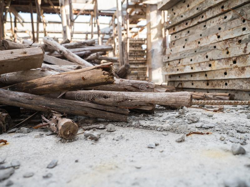 Stacked wood in construction site. Bangkok thailand royalty free stock image