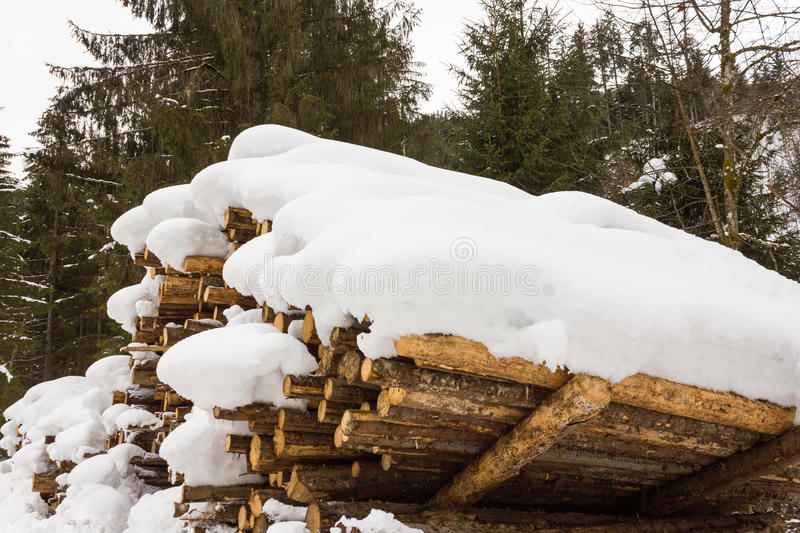 Stacked wood covered with snow, alps Austria in Salzburg stock photography