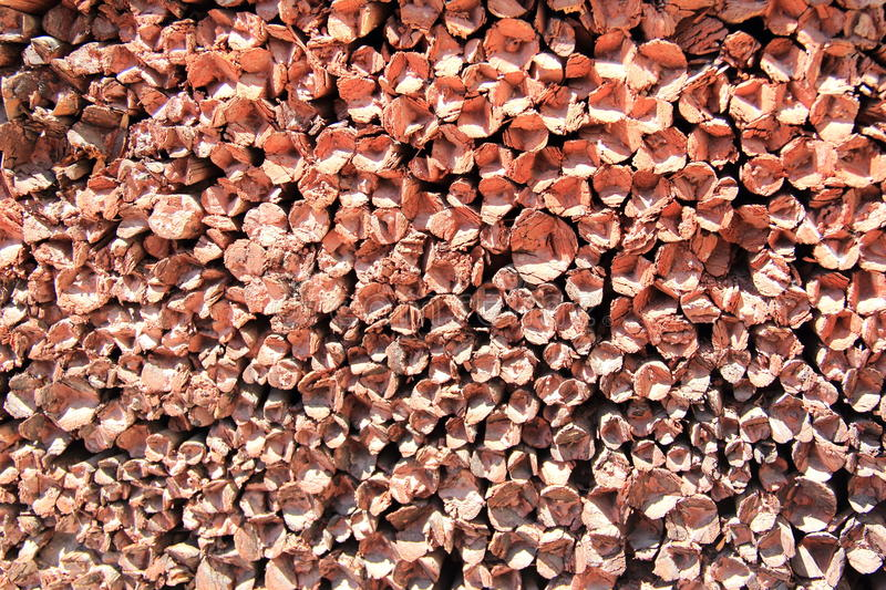 Stacked wood cut background. stock photos