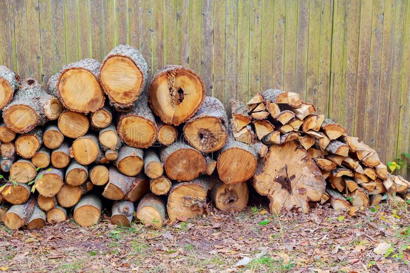 stacked wood cut background stock photos