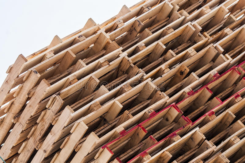 Stacked wood pallets. Stacks of new wood pallets at an Amish pallet factory stock photos