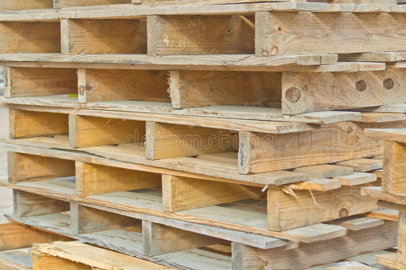 Stacked Wooden Pallets. For moving items with forklifts royalty free stock photos