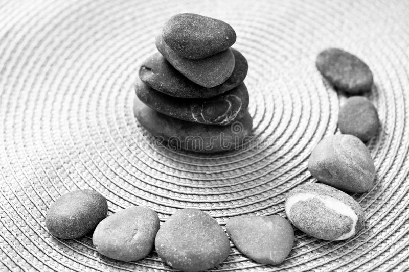 Download Stacked Zen Stones And Stones In Circle, Bw Stock Photo - Image: 24715660