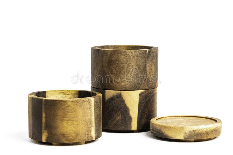 Stacking Bamboo Wood Condition Vessel obraz stock