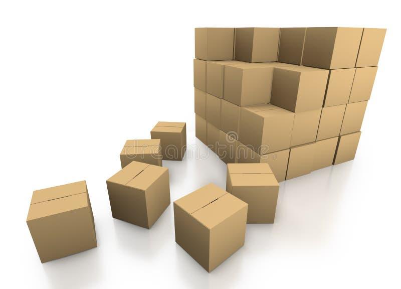 Stacking cardboard boxes royalty free illustration