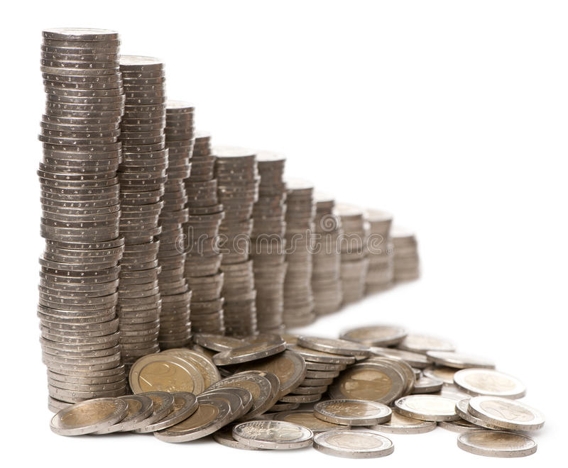 Stacks of 2 Euros Coins royalty free stock photography