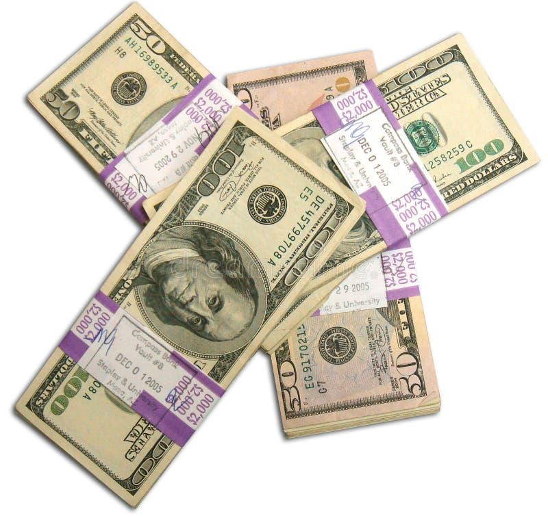 Stacks Of 50 And 100 Dollar American Bills Stock Photo
