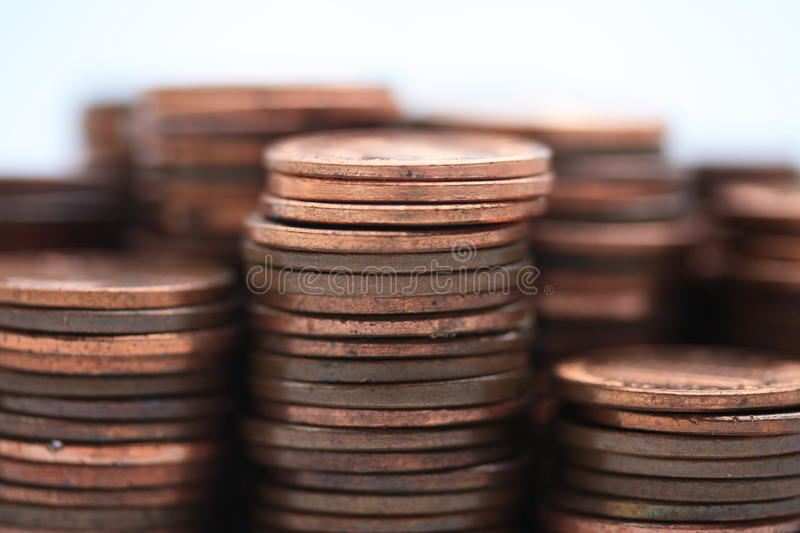Stacks of American cents. Several stacks of American cents in close up stock image