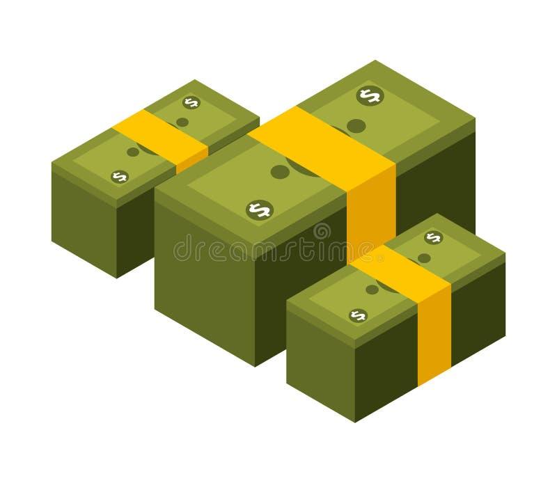 Stacks of bill dollar isolated icon. Vector illustration design royalty free illustration