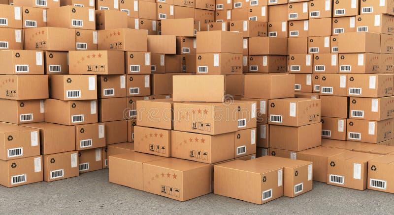 Stacks of Cardboard Boxes stock illustration