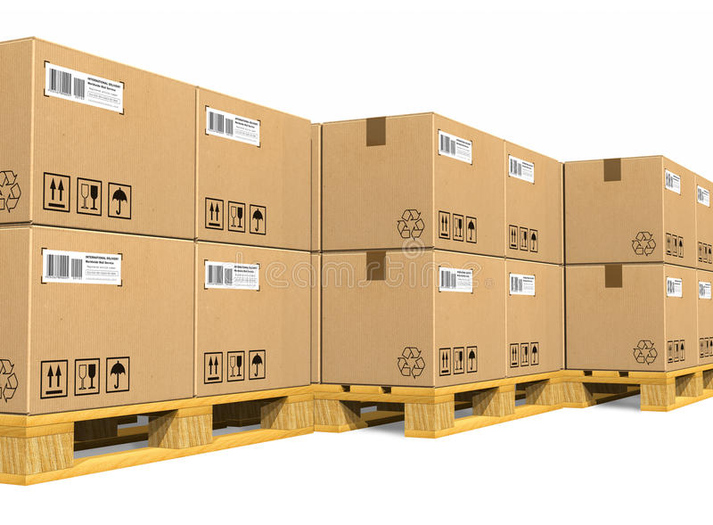 Stacks of cardboard boxes on shipping pallets. Isolated on white background vector illustration