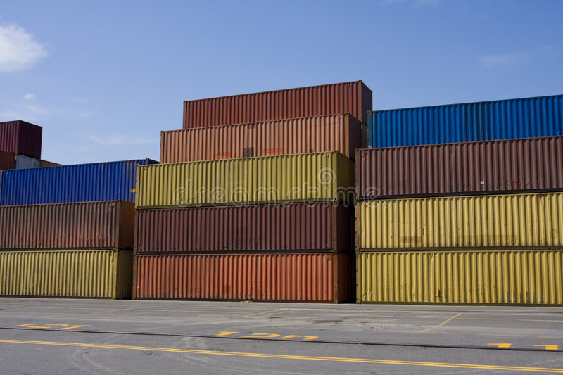 Stacks of cargo containers stock photo