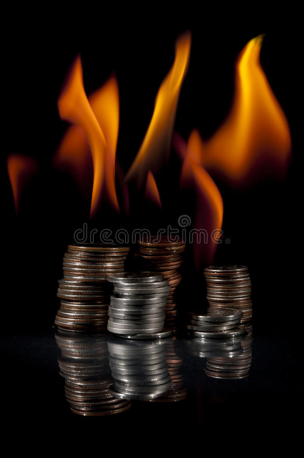 Download Stacks of Change on Fire stock image. Image of dimes - 18697763