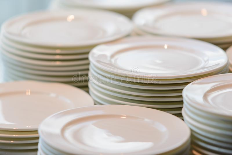 Download Stacks Of Cleaned White Plates For Catering Buffet Stock Photo - Image of background & Stacks Of Cleaned White Plates For Catering Buffet Stock Photo ...