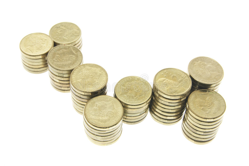 Stacks of Coins. Stacks of Australian Coins on White Background stock photo