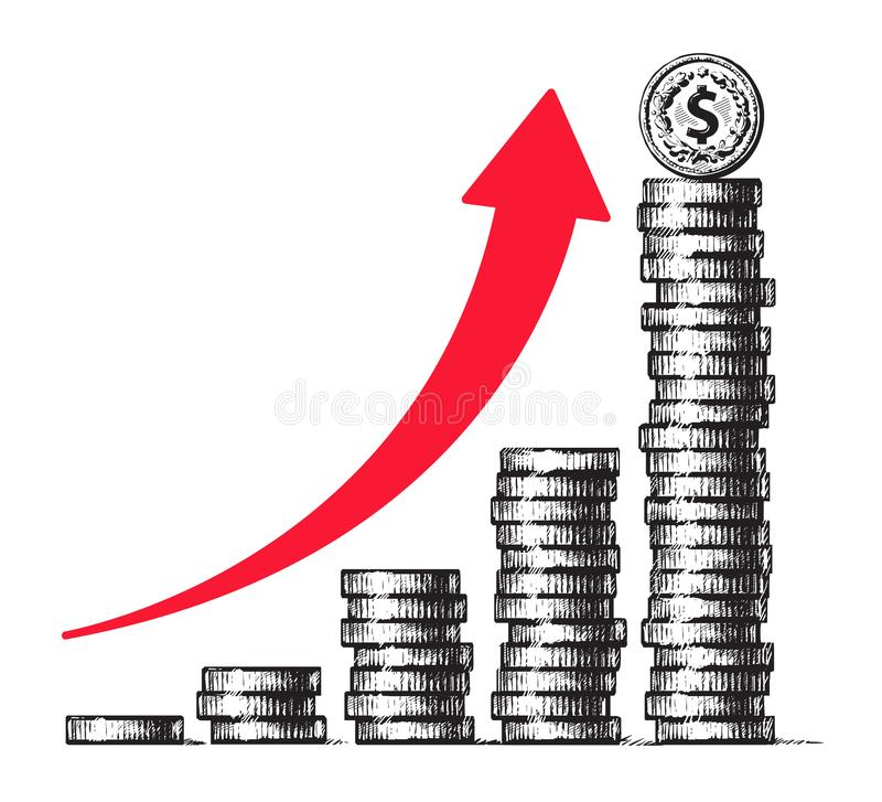 Stacks of coins with dollar sign coin on top and red arrow going up. Diagram of economic growth, business success, money. Stacks of coins with dollar sign coin stock illustration
