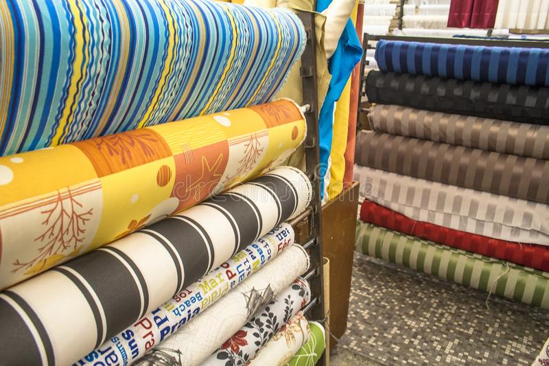 Stacks of colorful textiles. Traditional fabric store with stacks of colorful textiles, in Sao Paulo royalty free stock image