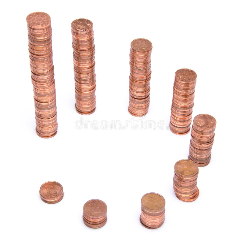 Stacks of copper coins stock images